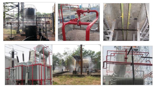 Water spray system wet riser fire fighting pumps